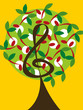 musical treble tree and cherry notes