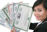 Woman Holding Stock Certificates poster