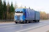 Blank blue tractor trailer truck