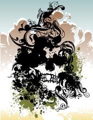 Punk grunge skull illustration