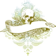 Skull banner illustration