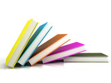 colored books isolated on glossy white poster