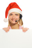 Mrs. Santa with a headset and white noticeboard isolated on whit poster