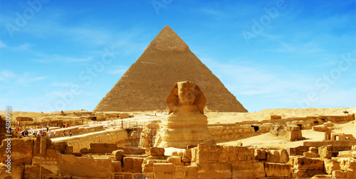 Leinwanddruck Bild Great Sphinx of Giza - panorama