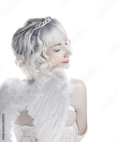 Blond angel girl isolated on white background