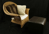 Wicker chair and ottoman poster