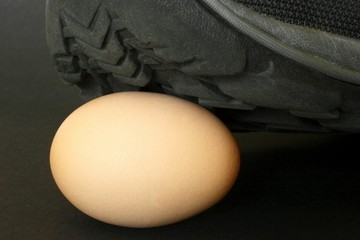 Shoe on a egg