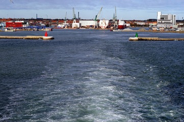 Ship leaving Frederikshavn in Denmark
