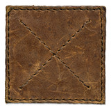 Brown scratched leather patch with stiched edges poster