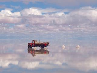 reflets sur le lac salé