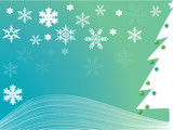 Christmas tree turquoise poster