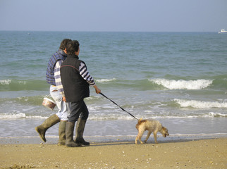 Walk with dog near the sea