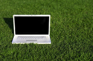 Laptop on field of green grass
