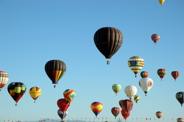 Lots of hot air balloons in the sky at a balloon festival