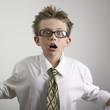 Shocked business boy