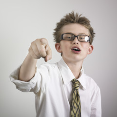 boy taunting and pointing
