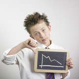 Boy holding bad results graph poster