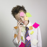 Boy with sticky pads and phone poster