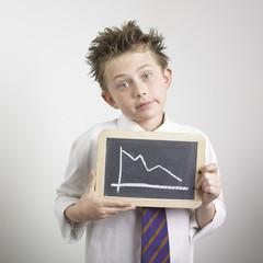 Boy holding a graph