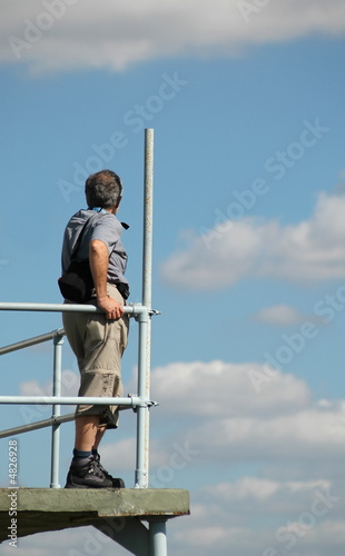 man on observation platform