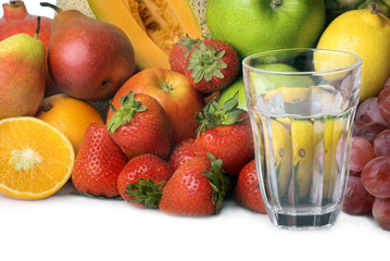 glass of water and fruits
