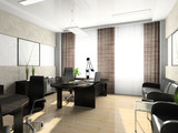 Interior of the cabinet in the office 3D rendering poster