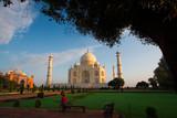 Morning visitors to Taj Mahal poster