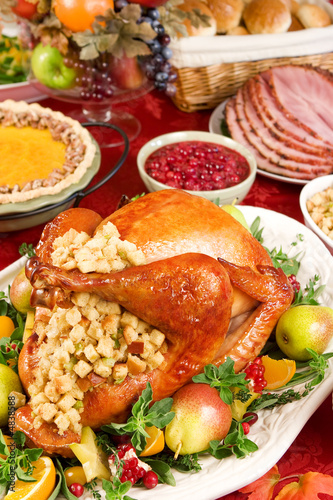 Holiday dinner with roast turkey