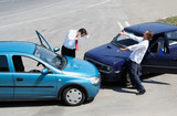 Traffic accident and to drivers fighting poster