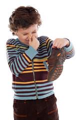 Boy with stinky  shoe