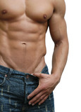 Muscular Male Torso Isolated on White poster