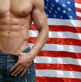 Muscular Male Torso with US Flag behind poster