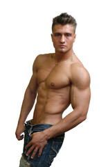 Muscular Sexy Man Isolated on White