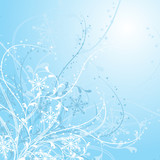 Winter floral background, vector illustration