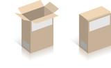 Boite en carton vectorielle, facilement modifiable ! poster