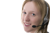 Female call centre operative with headset poster