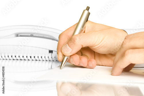 Hand and pen