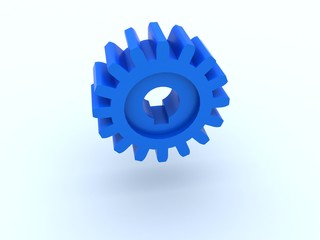 Gear from blue plastic