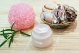 Bathroom still-life - Moisturizing face cream with  shell poster