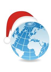 Globe with Santa's hat