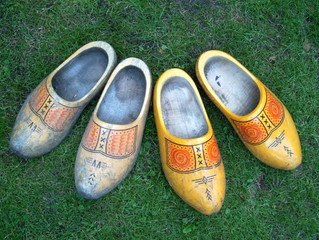 Wooden shoes in the garden