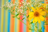 Wildflowers Against Striped Background poster