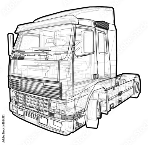 Schematic illustration of a Volvo Truck.