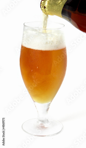 poster of Glass beer with foam on white background