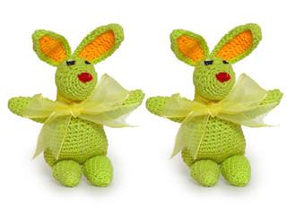 green tiny rabbits ornamental pattern