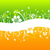 Curved white floral design on colorful background
