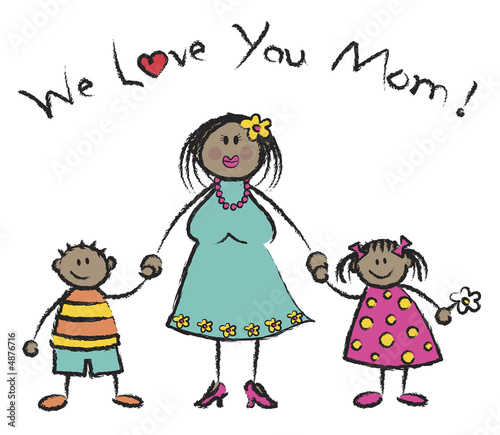 WE LOVE YOU MOM cartoon dark skin tone family