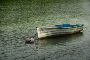 small wooden boat in the reservoir
