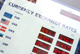 Currency exchange rates board poster
