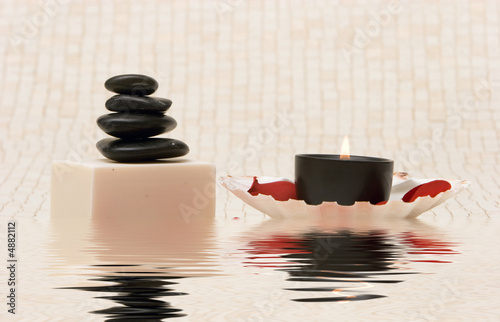 Leinwanddruck Bild Spa stones and soap